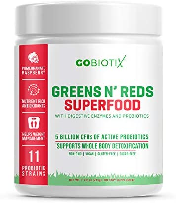 GoBiotix Super Greens Powder N Super Reds Powder Non GMO Vegan Red and Green Superfood Probiotics product image