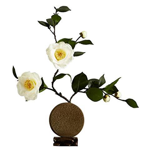 Kunstmatige Bloemen met Keramiek Vaas Witte Camelia Huis Wedding Party Garden Living Room Decoration Ornament van de Bloem