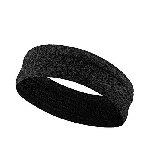 Diadema Deporte Hombres Sudor Bandas para el Pelo Cinta de Correr Protección para la Frente Correr Fitness Yoga Tenis Sobregrip Mujeres Elastic Sweatband # 32, Negro