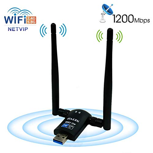 NETVIP 1200Mbps Adaptador WiFi USB 3.0 Wireless Dongle con Antena 5dBi Dual Band 5GHz 867Mbps/2.4GHz 300Mbps WiFi Receptor compatibie Windows XP/7/8/10/2000/Vista, Mac OS 10.4-10.14