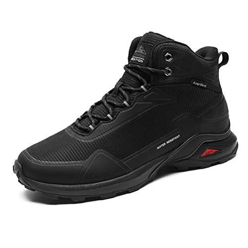 Dannto Hombre Botas de Nieve Invierno Botines Zapatos Cálido Fur Forro Aire Libre Boots Antideslizante Calientes zapatos de Senderismo para Trail Urbano Senderismo Esquiar Caminando(Negro-A,46)