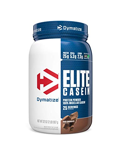 Dymatize Elite Casein Protein Powder, Slow Absorbing with Muscle Building Amino Acids, 100% Micellar Casein, 25g Protein, 5.4g BCAAs & 2.3g Leucine, Helps Overnight Recovery, Rich Chocolate, 2 Pound