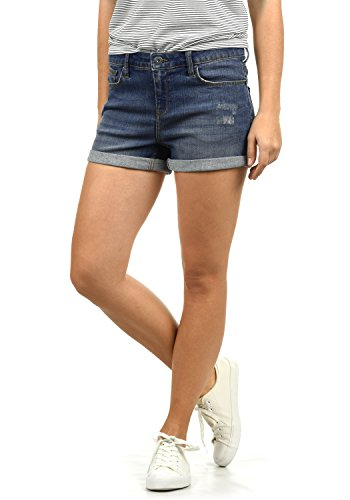 BlendShe Andreja Damen Jeans Shorts Kurze Denim Hose Mit Destroyed-Optik Aus Stretch-Material Skinny Fit, Größe:S, Farbe:Dark Blue Washed (29053)
