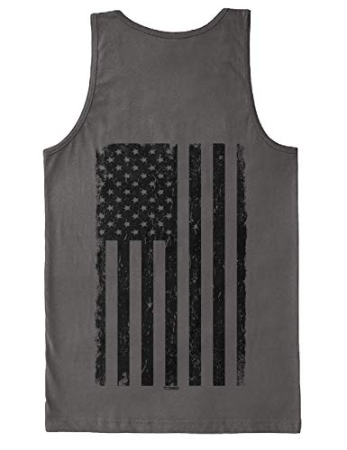 Distressed Black USA Flag - United States Men's Tank Top (Charcoal - Back Print, XX-Large)