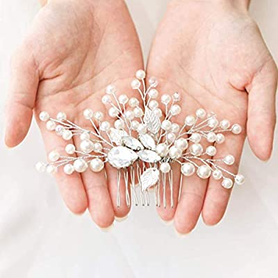 Unicra Pearl Wedding Hair Comb Crystal Bridal Hair Accessories for Brides and Bridesmaids
