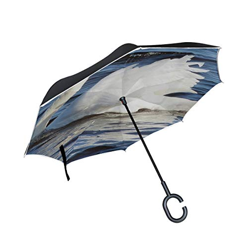 Jnseff Double Layer Inverted Swan Bird White Bird Water Bird Umbrellas Reverse Folding Umbrella Windproof Uv Protection Big Straight Umbrella for Car Rain Outdoor with C-Shaped Handle