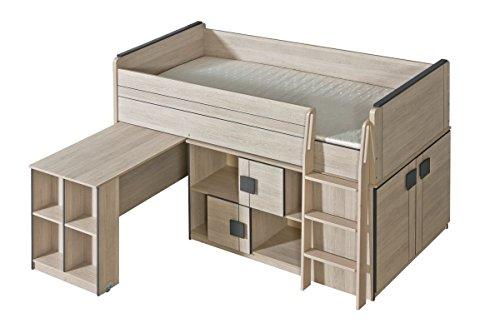 Funktionsbett / Kinderbett / Hochbett - Kombination mit Bettkasten, Kommode und Schreibtisch Elias 19, Farbe: Hellbraun / Grau - Liegefläche: 90 x 200 cm (B x L)
