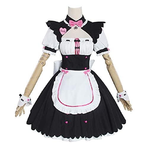 NICERE Disfraz de mucama para cosplay de anime de Kawaii, ropa de criada, trajes para mujer, color rosa y azul (color: vainilla, tamaño: L) disfraz de falda Lolita (color: vainilla, tamaño: 3XL)