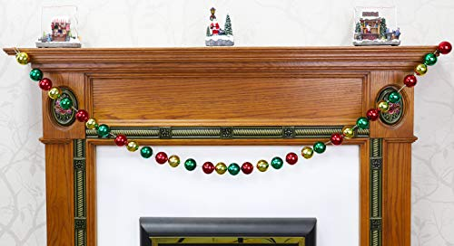 Christmas Concepts Red, Green & Gold 1.5m Christmas Bauble Garland - 40mm Shiny Baubles - Christmas Decorations