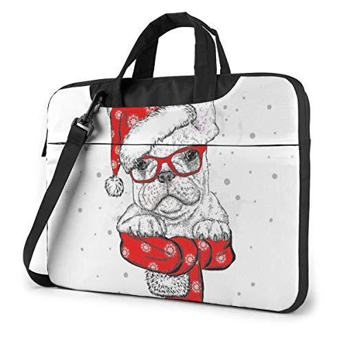 Lustige englische Bulldogge mit Weihnachtsmütze Erwachsene Student 15.6 in Laptop-Tasche Notebook Schutzhülle Handtasche Umhängetasche
