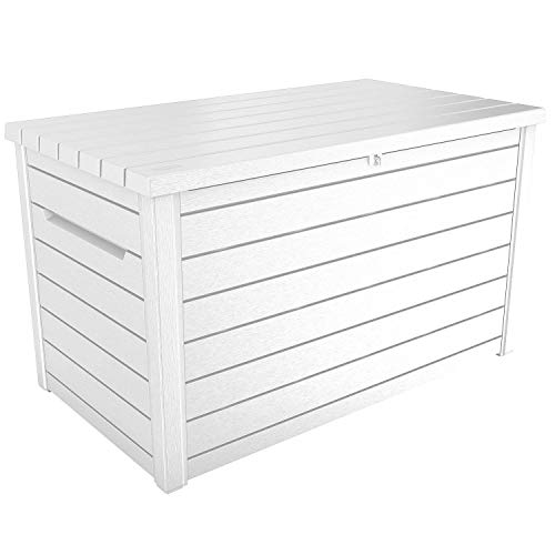 professional Keter XXL 230 Gallon Deck Storage Box Terrace Patio Container ~ White