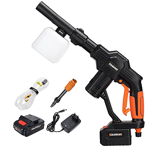 73HA73 Lavadora de Coche de Alta Presión de 20 V Pistola de Limpieza de Coche de Agua de Pulverización Automática Inalámbrica Limpiador de Mano Batería de Litio Recargable,1 Battery
