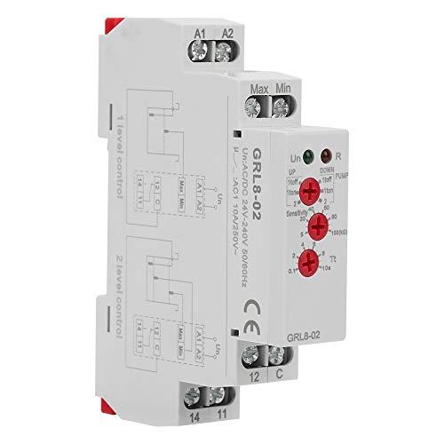 Relé de control de nivel de agua, 10A AC/DC 24V-240V Relé de control de nivel de líquido, para laboratorio doméstico