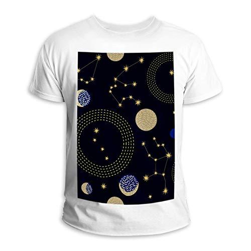 LORVIES constelaciones del cielo del signo creciente de luna y círculos, unisex, de manga corta de algodón, para hombres y mujeres multicolor XXL