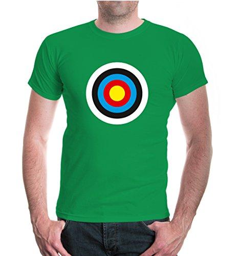 buXsbaum® Herren Unisex Kurzarm T-Shirt bedruckt Zielscheibe | Schießscheibe Scheibe Sündenbock | L kellygreen-z-direct Grün