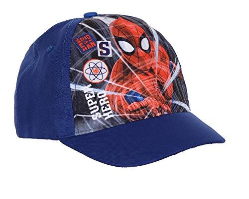 Marvel Disney Offizielle Spiderman Kinder Jungen Mützen Baseball Kappe Alter 2 zu 6 Jahre (54cm (Alter 5/9), Spiderman Blau ET4031)