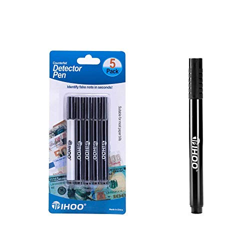 TIHOO Counterfeits Pen, Fake Money Marker, Counterfeit Bill Detector Pen, Counterfeits Money Detector Pen (5 Pack)