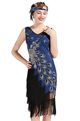 Coucoland 1920s Kleid Damen Pfau Flapper Charleston Kleid V Ausschnitt Great Gatsby Motto Party Damen Fasching Kostüm Kleid (Blau, XL)