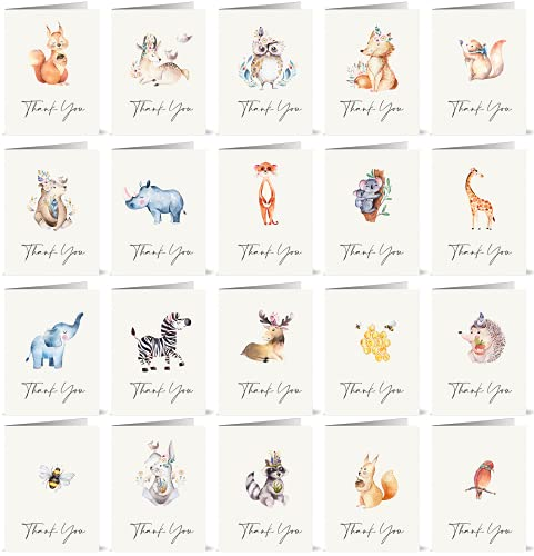 20 x Watercolor Animal Thank You Cards with Envelopes