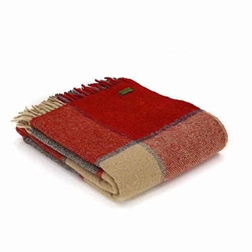 Tweedmill Textiles Couvre-lit Block Check 100 % pure laine vierge – Rouge/ardoise/beige