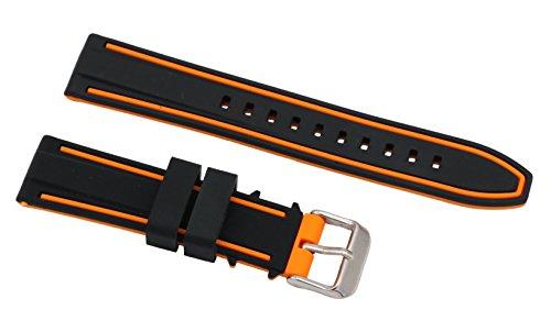 20mm spalline in silicone di qualità superiore per le immersioni orologi braccialetti per orologi in gomma in due tonalità di nero e arancio