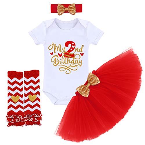 FYMNSI - Pelele de algodón de manga corta con lentejuelas y braga para las piernas, 4 piezas Rojo Mi 2º cumpleaños. 2 Años