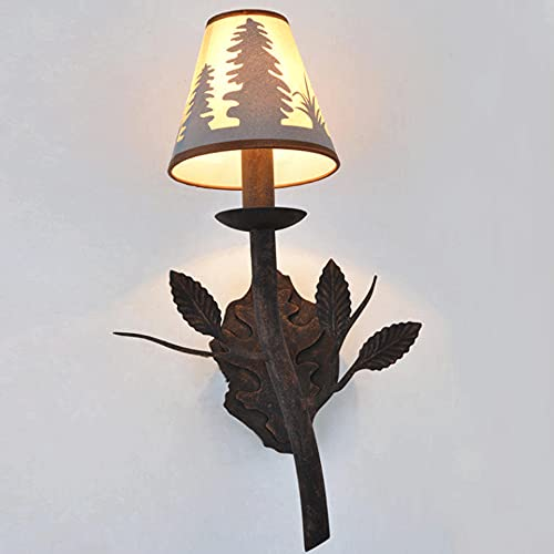 CYLYFFSFC Creativo Nuevo Hierro Forjado imitación Piel de Oveja Pantalla Pasillo Restaurante Pared Retro lámparas de país Americano lámpara de Pared Pastoral con Personalidad