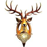 Lámpara De Pared De Cabeza De Cabeza De Cabeza De Animal 3D, Estilo Europeo Creativo Estudio Retro Chimenea Decoración De La Pared Colgada De Pared, Sala De Estar Lámpara De Noche Dormitorio 28in*24in