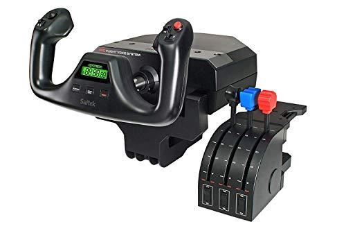 Logitech G PRO Flight Yoke System, Professional Simulation Yoke and Throttle Quadrant, 3 Modes, 75 Programmable Controls, Configurable Throttle Knobs, Steel Shaft, USB, PC - Black (Renewed)