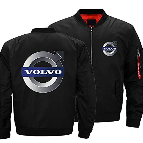 Men's Bomber Jacket for VOLVO Flight Windproof Lightweight Outwear Autumn And Winter Warm Padded Coat Full Zip Pockets -Adult Gift