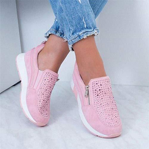 MTHDD Damen Walkingschuhe Espadrilles Laufschuhe Sportschuhe Fitness Sneakers Trainers für Outdoor Schuhe,Rosa,41