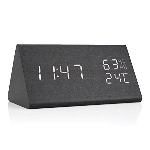 Hanper Wood Cube - Despertador de mesa digital, pantalla digital a tiempo/temperatura/humedad con LED, control de voz