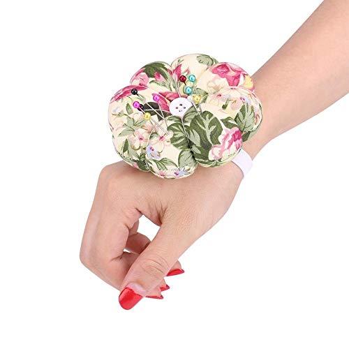 Cojín para alfileres - 1 pieza Agujas de coser de tela de calabaza de doble cara de uso C-reative Agujas de coser para alfileres ajustable con cinturón elástico para la muñeca(NO.13)