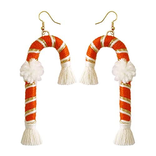 Gujugm Pendientes de borla de Navidad para mujer, creatividad, retro, tejido a mano, de largo, bohemio, para niñas y mujeres