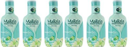 6x MALIZIA Bagnoschiuma Tonificante Muschio Bianco Schaumbad weißer Moschus Verstrebungen Duschgel 1Lt