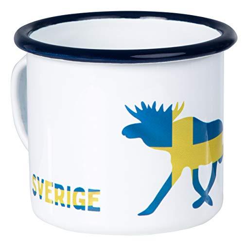 SCHWEDEN - Sverige | Hochwertige Emaille Tasse | mit Elch und Schweden Flagge | leicht und bruchsicher | für Camping und Outdoor Fans | von MUGSY.de