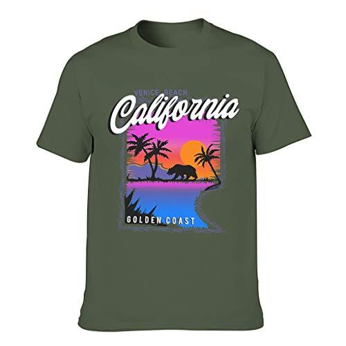 Kalifornische Pazifikküste Kaliforniens 3D Kreativ Herren T-ShirtsKurzen ÄrmelsTee Slim Fit T-Shirt SportT-Stücke Army Green 6XL