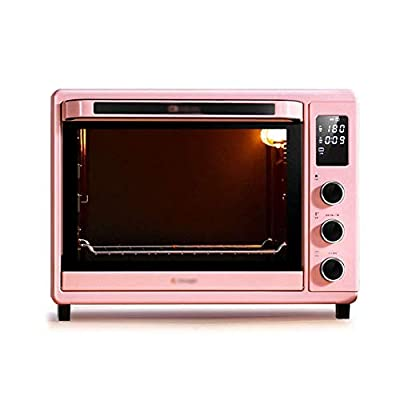 LQRYJDZ Oven, Electric Mini Oven - Pink Fully Automatic 32L Display Enamel Small Household Oven, 45.3x37.6x34.5cm Toaster Oven (Color : Pink),Colour:Pink (Color : Pink)