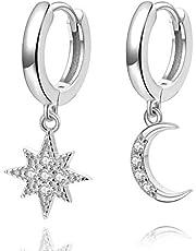Aretes con forma de argolla Star Moon, pendientes de plata de ley de 14 quilates chapados en oro, pequeños pendientes CZ Evil Eye para mujer o niña