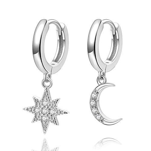 Aretes con forma de argolla Star Moon, pendientes de plata de ley de 14 quilates chapados en oro, pequeños pendientes CZ Evil Eye para mujer o niña (Plata)