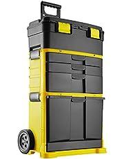tectake 403596 Carro de Herramientas, 3X Cajones para Piezas, Compartimento Inferior Grande, Ruedas y Asa Extraíbles, Dispositivo para Candado, Nuevo