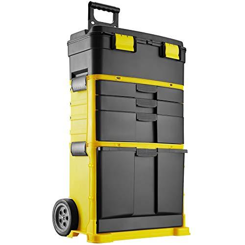 tectake 403596 XXL Werkzeugtrolley leer, Werkstattwagen mit 3 Schubladen und abnehmbarem Kofferaufsatz, großes Klappfach, Vorrichtung für Vorhängeschloss, mit Rollen