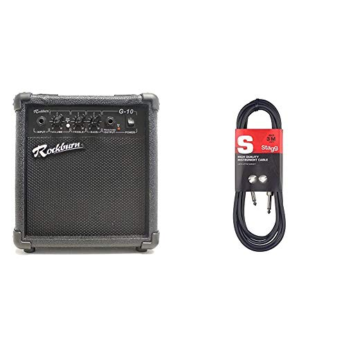 Rockburn BC-10S-BK amp 10 Watt Guitar Amplifier with Headphone Output & Stagg 3m High Quality Phone to Phone Plug Instrument Cable