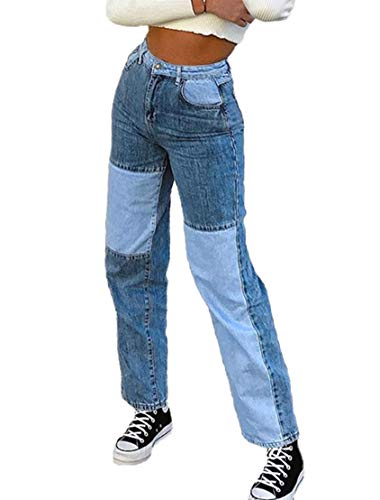 WephuPSho Fashion Color Block Jeans for Women, High Waist Pockets Patchwork Straight Trousers Patch Flare Denim Pants (B-F, S)