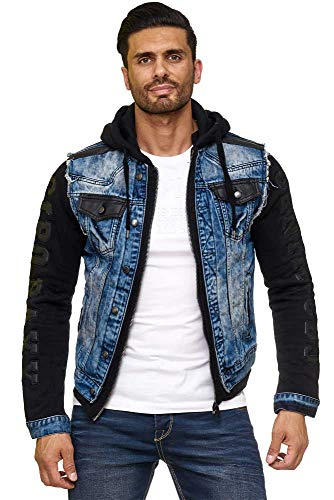 Cipo & Baxx Herren Denim Jeans Jacke Sweatjacke Übergangsjacke mit Kapuze Blau L