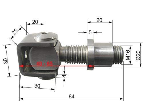 M16 Torband Edelstahl V2A Stahl Scharnier Tor Tür Torantrieb Anschweißbar (Edelstahl V2A, M16)
