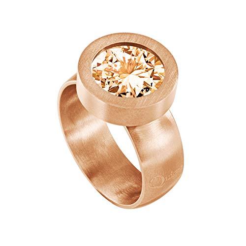 Quiges Wechselring Rosegold Ring Edelstahl Matt 12mm Mini Coin Halter und Zirkonia Coin Champagne in Größe 17mm