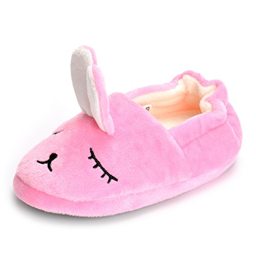 ESTAMICO Toddler Girls' Bunny Slipper Cartoon Rabbit Warm Winter House Shoes, Pink, US 9-10 M