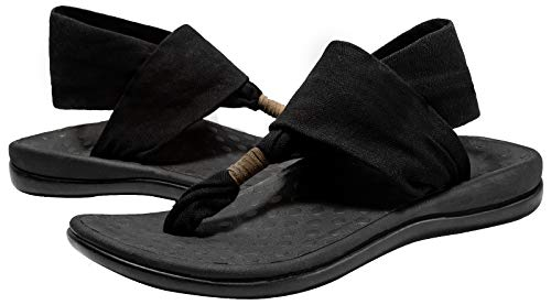 LLSOARSS Women's Plantar Fasciitis Feet Yoga Sling Sandal Arch Supports Orthotics Flip Flops Relieve Flat Feet, High Arch, Foot Pain Black
