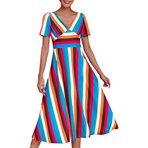 Vestido de mujer de verano largo y elegante, estilo arcoíris, vestido informal con rayas [diseñadores] Lino Splicing de manga corta y cuello en V, tallas grandes, Mujer, Blu ❤️, X-Large